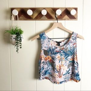 FOREVER 21 l Tropical Floral Print Crop Top